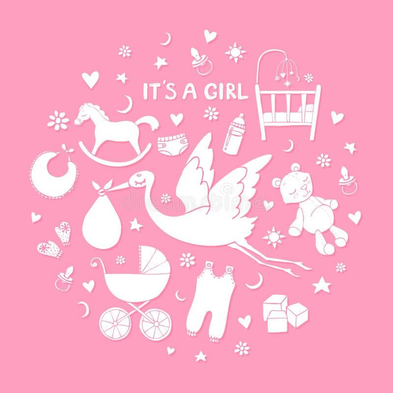 Reeks hand getrokken elementen Het materiaal van het babymeisje Inzameling van vector leuke pictogrammen stock illustratie