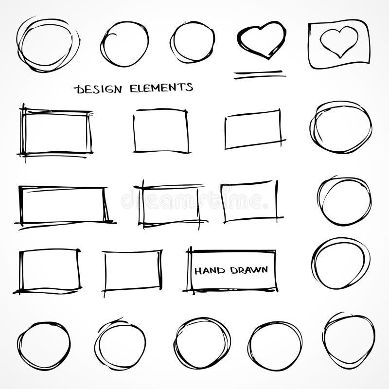 Reeks Hand Getrokken Elementen van het Gekrabbelontwerp royalty-vrije illustratie