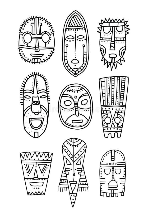 Reeks hand getrokken etnische maskers van de karakters oude goden Zwart overzicht Elementen voor het kleuren van boek en ontwerp stock illustratie