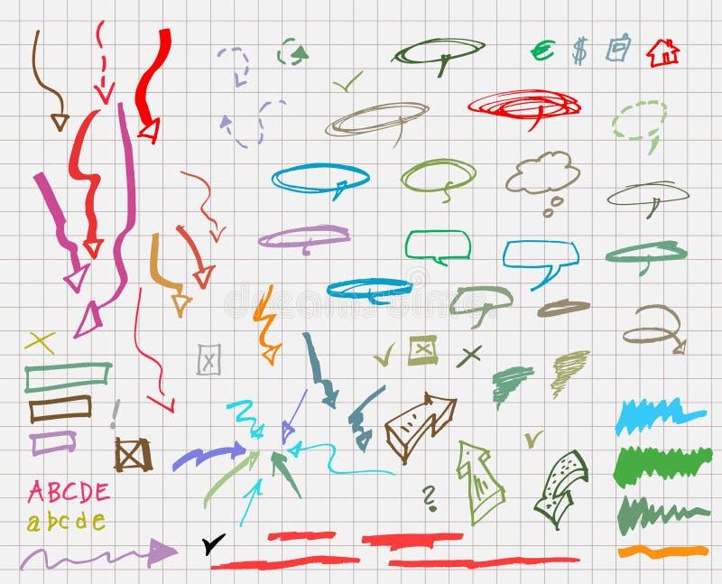 Reeks hand getrokken grafische tekens. stock illustratie