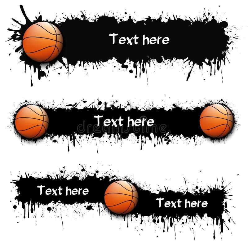 Reeks hand getrokken grunge banners met basketbal vector illustratie