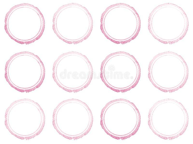 Reeks Hand getrokken kaders van de waterverfcirkel stock illustratie