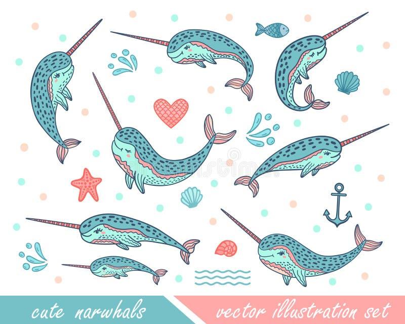 Reeks hand getrokken leuke grappige narwallen Krabbelwalvissen voor drukontwerpen, affiches, t-shirts vector illustratie