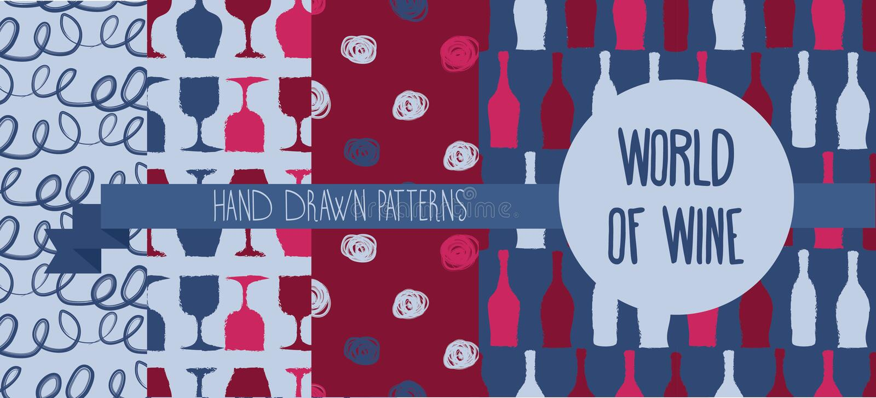Reeks hand getrokken naadloze achtergronden met flessen en glazen voor wijn royalty-vrije illustratie