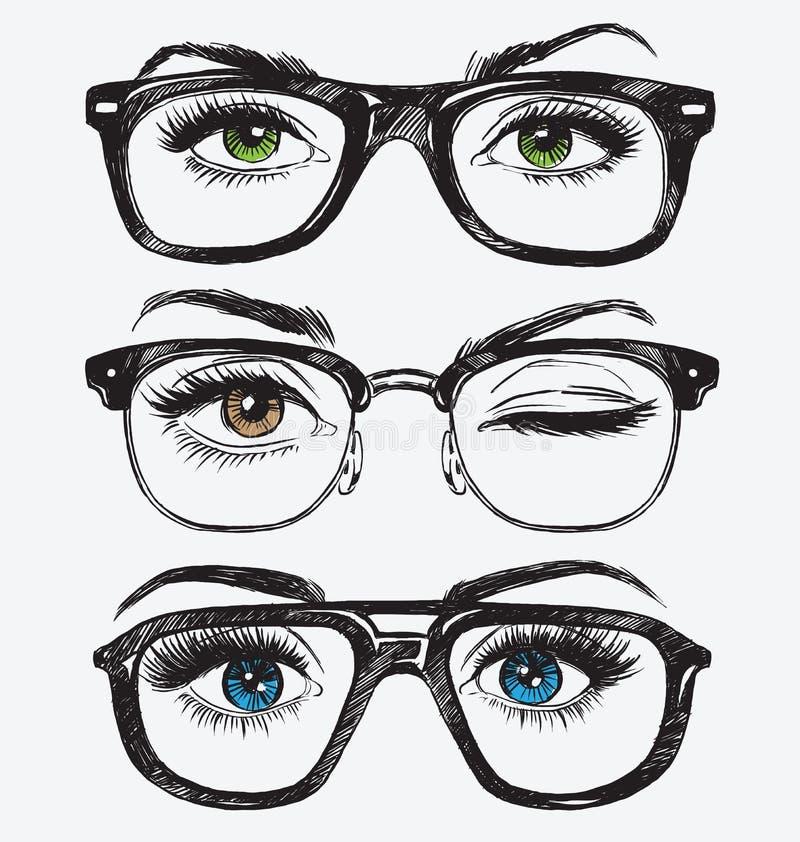Reeks hand getrokken ogen van vrouwen met hipsterglazen vector illustratie