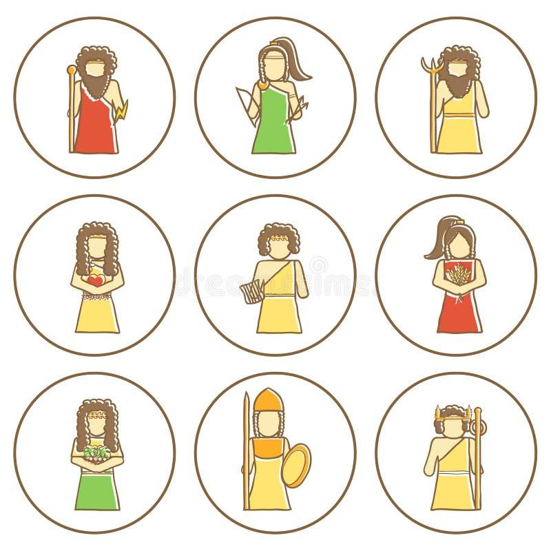 Reeks hand getrokken pictogrammen met Griekse goden vector illustratie