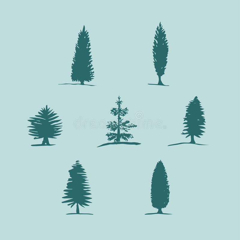 Reeks hand getrokken schets blauwe bomen - pijnboom, spar, cipres royalty-vrije illustratie