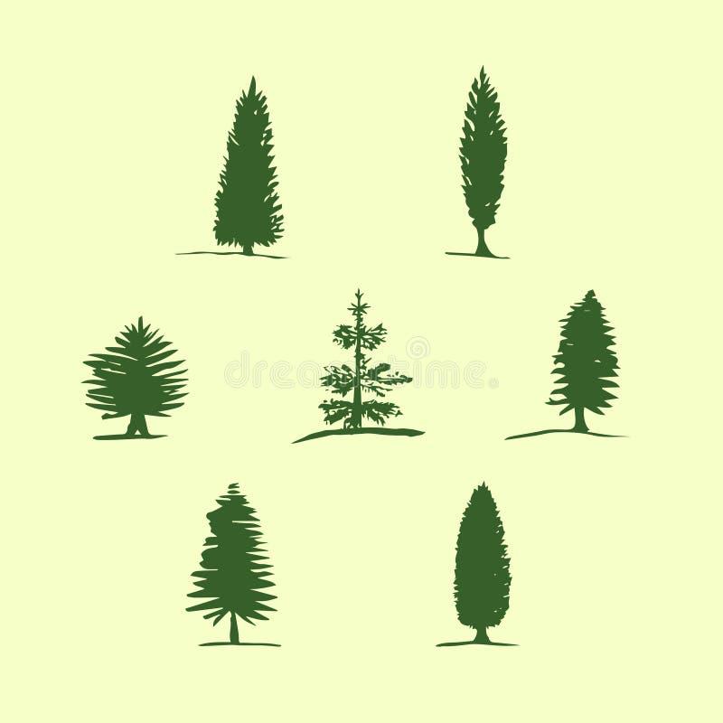 Reeks hand getrokken schetsbomen - pijnboom, spar, cipres vector illustratie