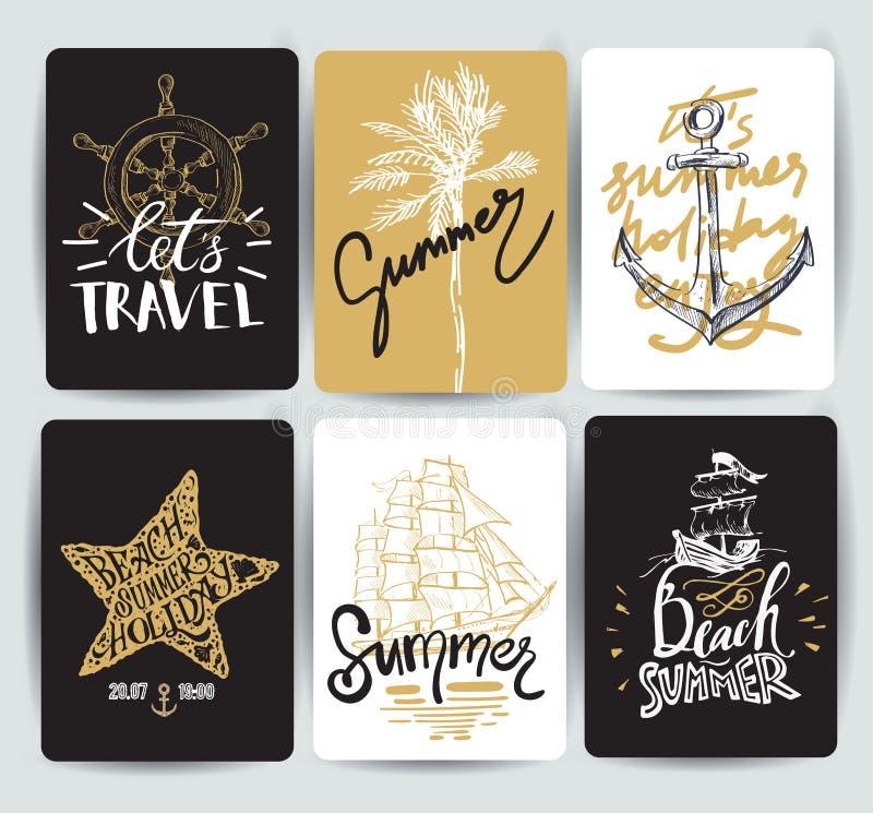 Reeks hand getrokken stickers van de zomer royalty-vrije illustratie