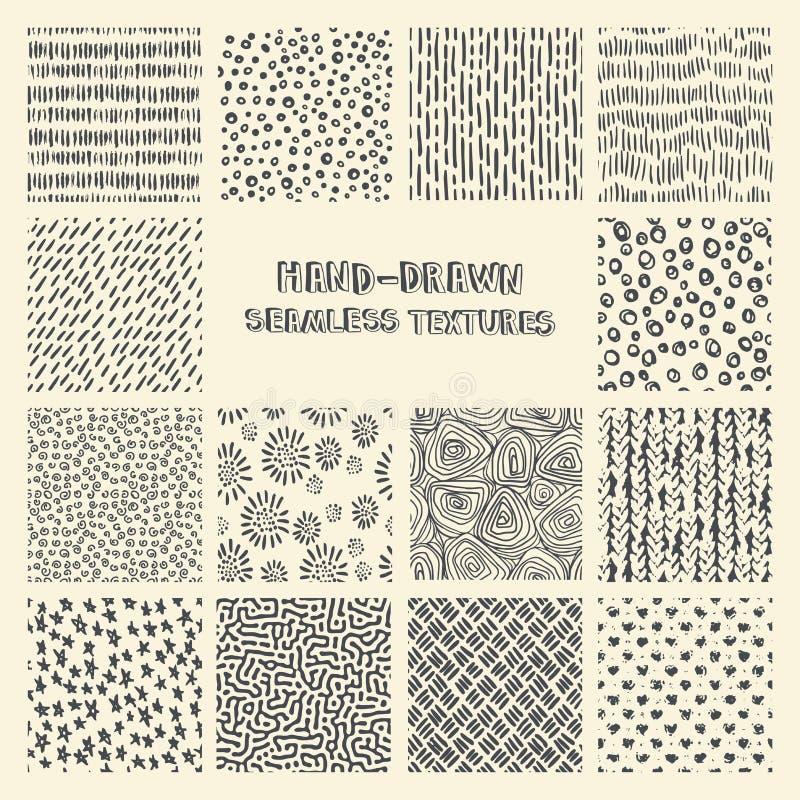 Reeks hand getrokken teller en inkt naadloze patronen royalty-vrije illustratie