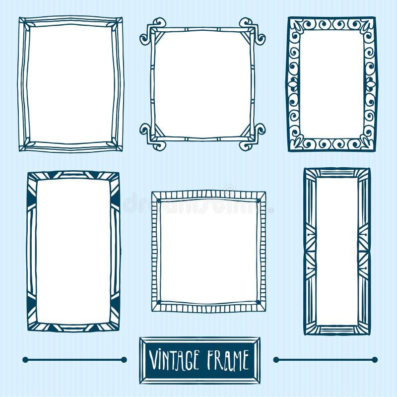Reeks hand getrokken uitstekende frames royalty-vrije illustratie