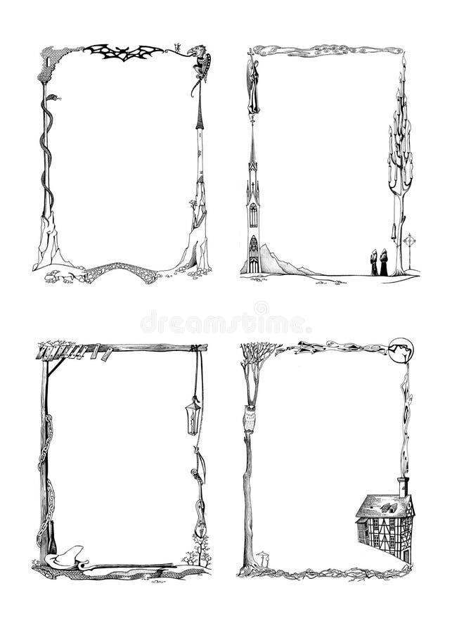 Reeks hand getrokken uitstekende Middeleeuwse kaders van Fantasiehalloween vector illustratie