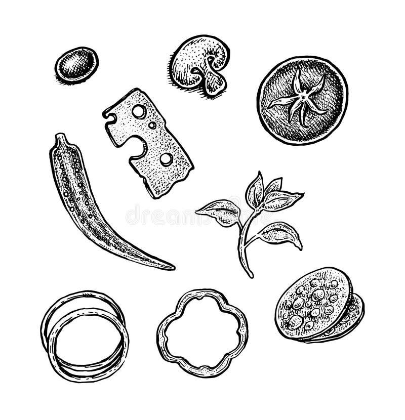 Reeks hand getrokken uitstekende schetsmatige ingrediënten van de stijlpizza royalty-vrije illustratie