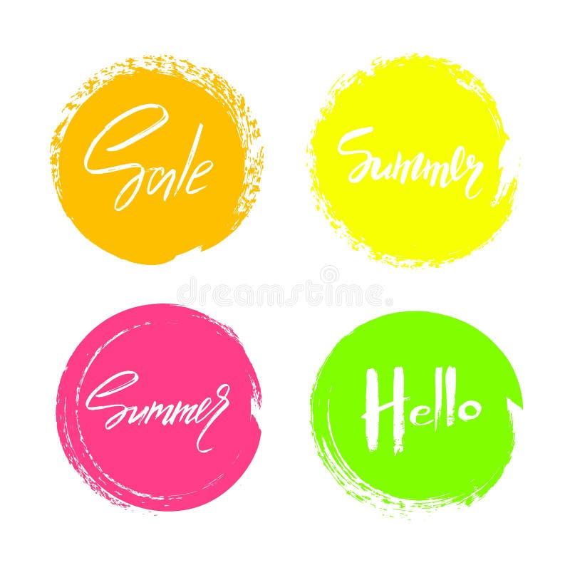 Reeks hand getrokken universele kleurrijke cirkelstekens, kentekens, stickers, achtergronden voor reclame, tekst, zaken, bevorder vector illustratie