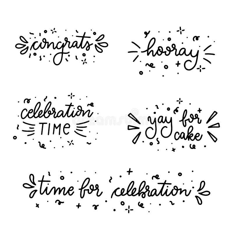 Reeks hand getrokken verjaardagsuitdrukkingen Handdrawn citaten van de Verjaardagskrabbel stock afbeelding