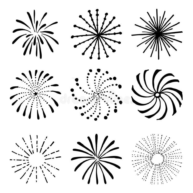 Reeks hand getrokken vuurwerk en zonnestralen Geïsoleerde zwarte witte vectorvoorwerpen royalty-vrije illustratie