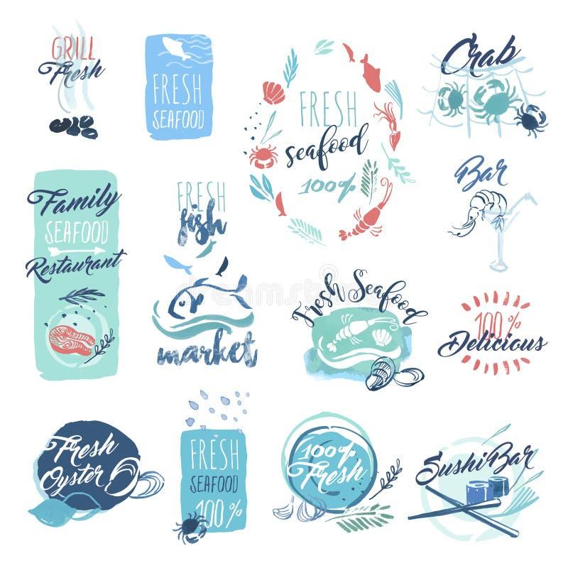 Reeks hand getrokken waterverfkentekens en stickers van zeevruchten royalty-vrije illustratie