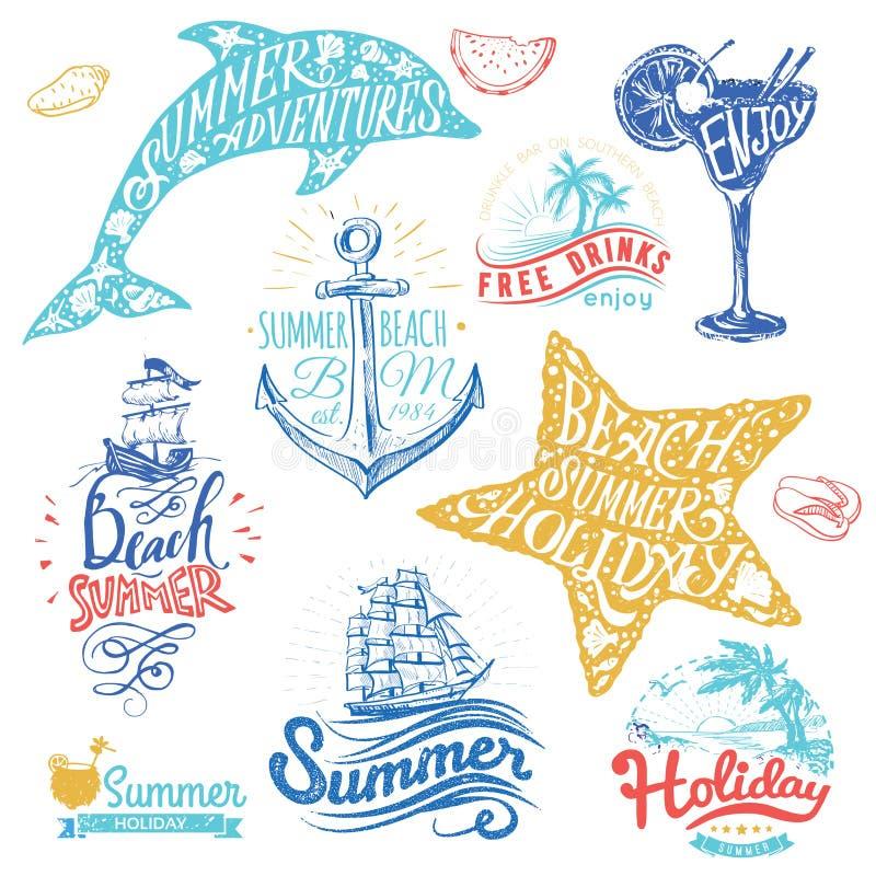 Reeks hand getrokken waterverflinten en stickers van de zomer Vectorillustraties voor de zomervakantie royalty-vrije illustratie
