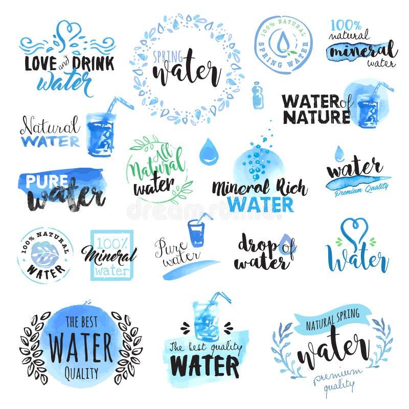 Reeks hand getrokken waterverftekens en elementen van water stock illustratie