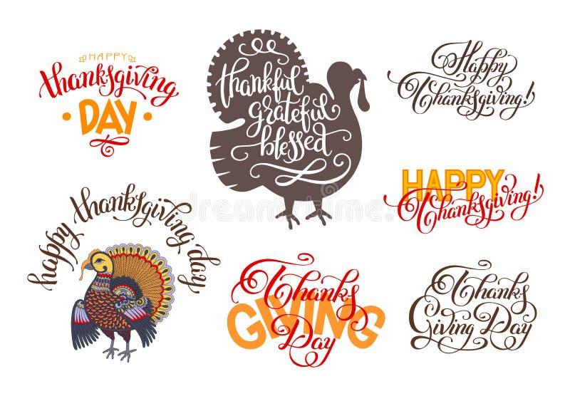 Reeks hand het van letters voorzien inschrijvingen aan thanksgiving day stock illustratie