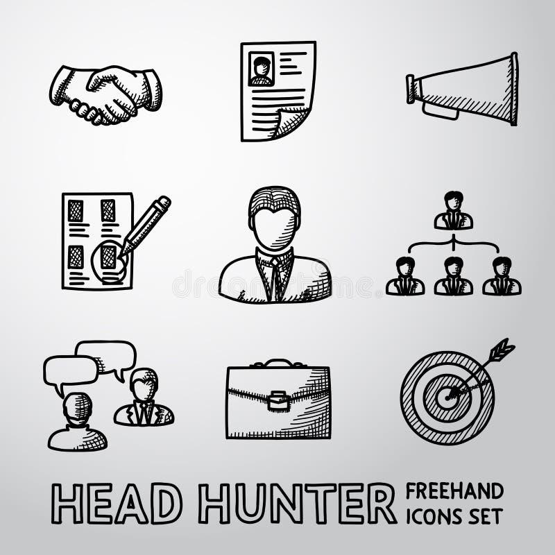 Reeks handdrawn Hoofdjagerspictogrammen - handdruk vector illustratie
