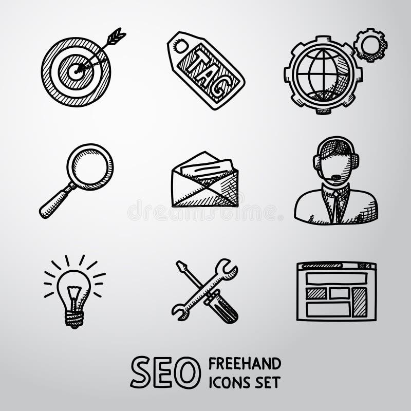 Reeks handdrawn pictogrammen van SEO - doel met pijl vector illustratie