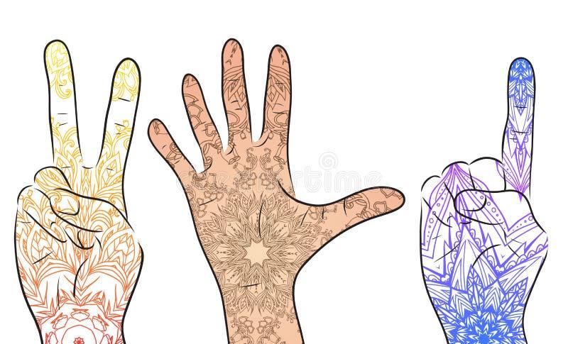 Reeks handen met bohopatroon vector illustratie
