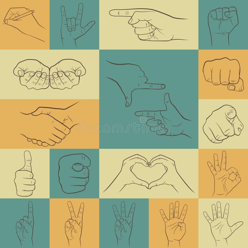 Reeks handenpictogrammen in uiteenlopende interpretaties stock illustratie