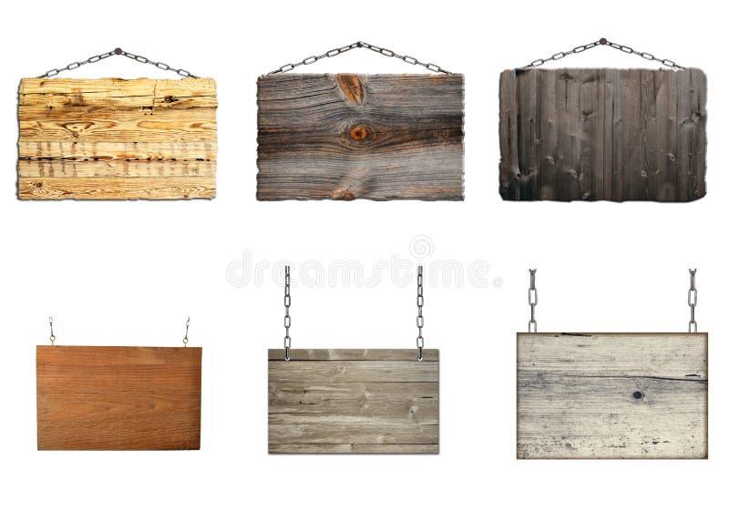Reeks hangende houten borden op metaalkettingen royalty-vrije stock afbeeldingen