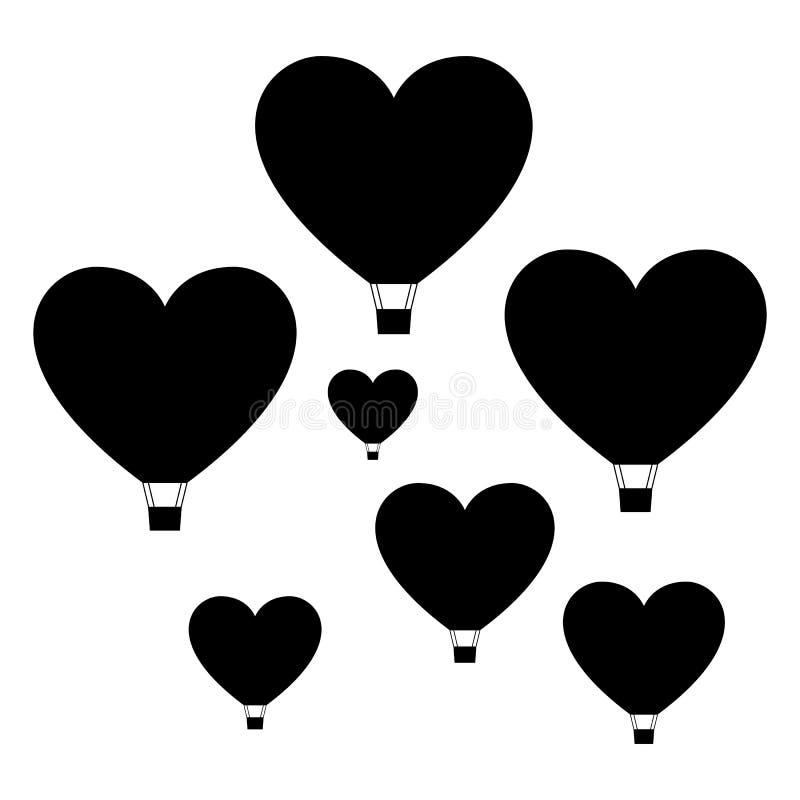 Reeks hart gevormde luchtballons, minimale vlakke stijl royalty-vrije stock fotografie