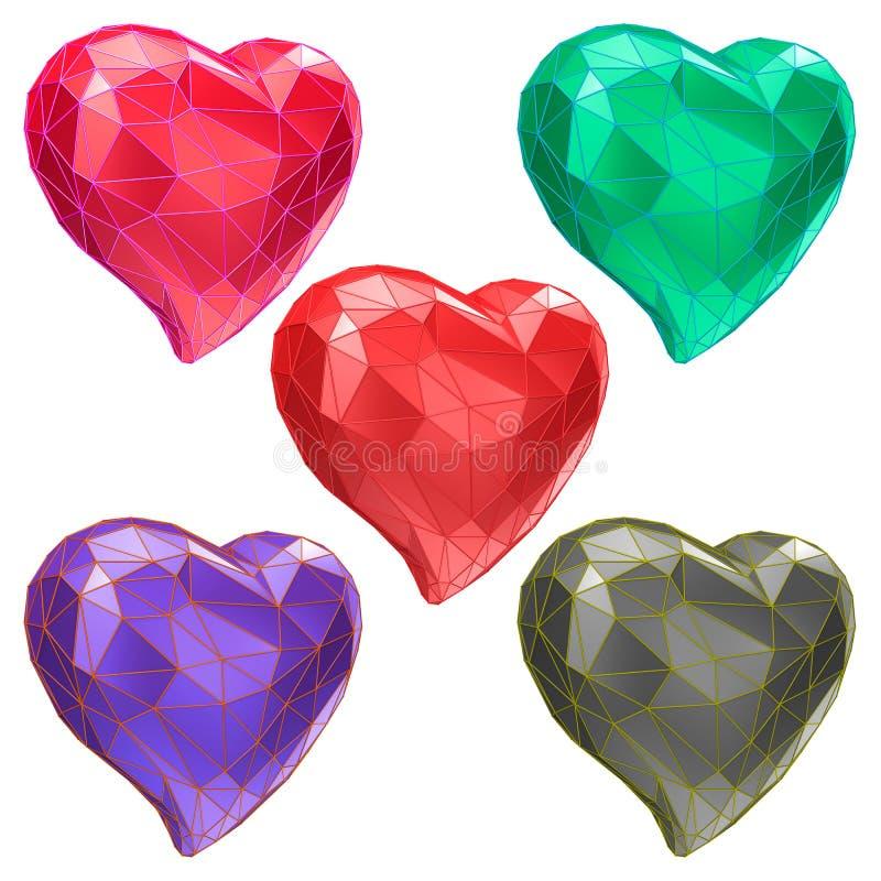 Reeks harten met gefacetteerd laag-polymeetkundeeffect vector illustratie