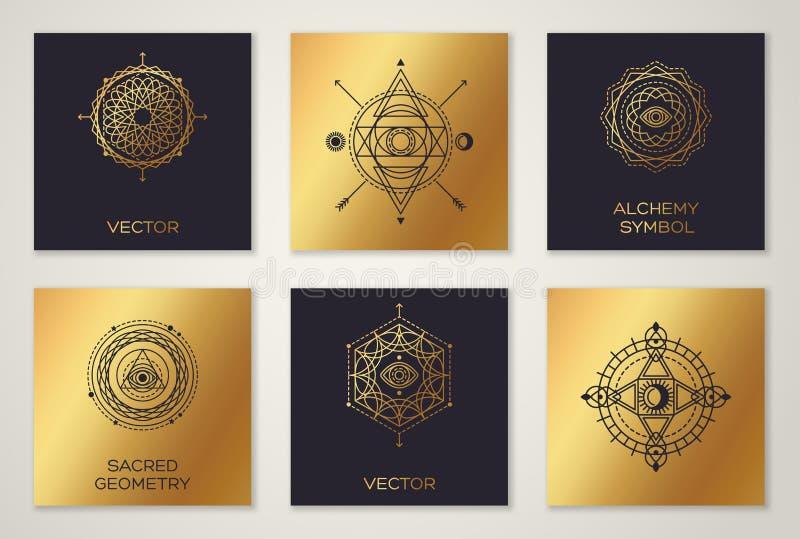 Reeks Heilige Meetkunde Minimale Geometrische Vormen stock illustratie