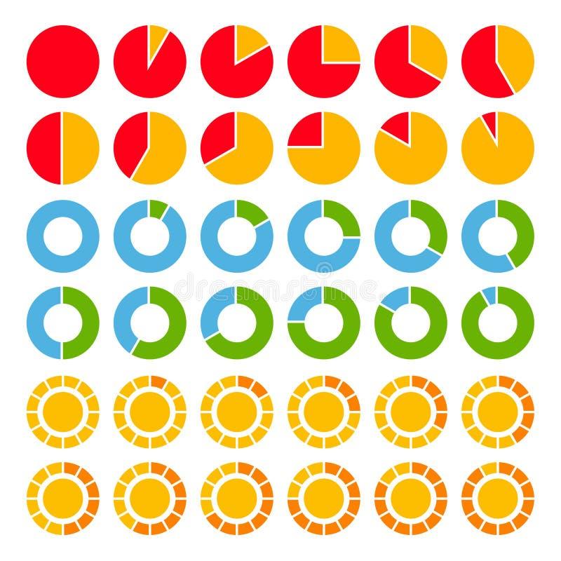 Reeks helder gekleurde cirkeldiagrammen. royalty-vrije illustratie