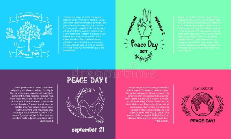 Reeks Heldere Affiches voor Internationale Vredesdag vector illustratie