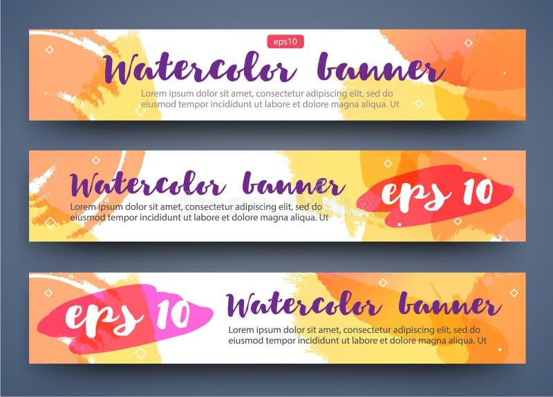 Reeks heldere banners van de waterverfzomer voor uw ontwerp Fruitdrank, manier, schoonheid vector illustratie
