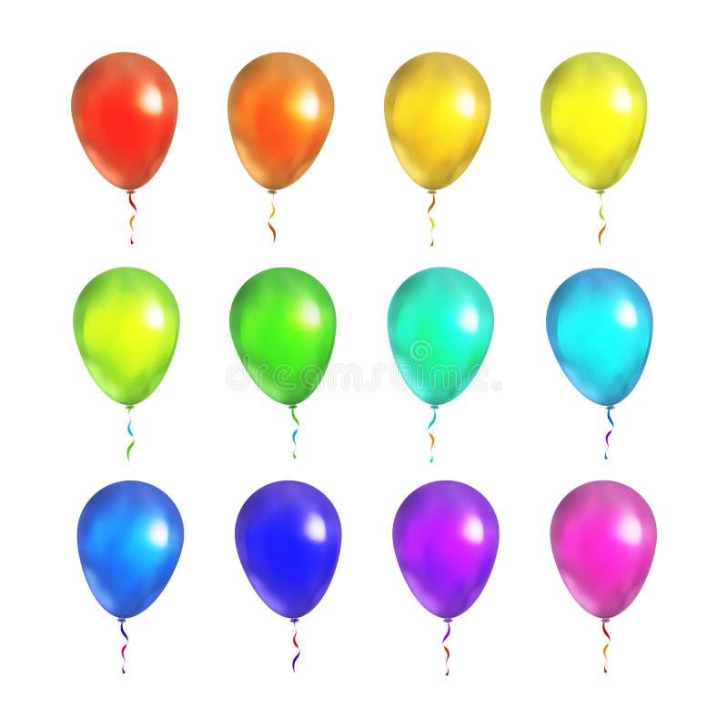 Reeks heldere kleurrijke die ballons op wit wordt geïsoleerd stock illustratie