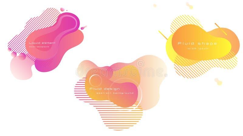 Reeks heldere kleurrijke vloeibare vormen Vloeibaar ontwerp voor banner, affiche, vlieger of presentatie vector illustratie