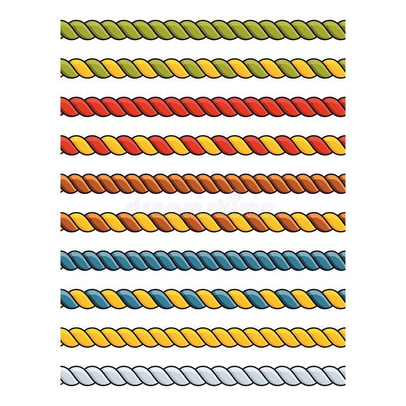 Reeks heldere multicolored decoratieve koorden van de kantzijde royalty-vrije illustratie