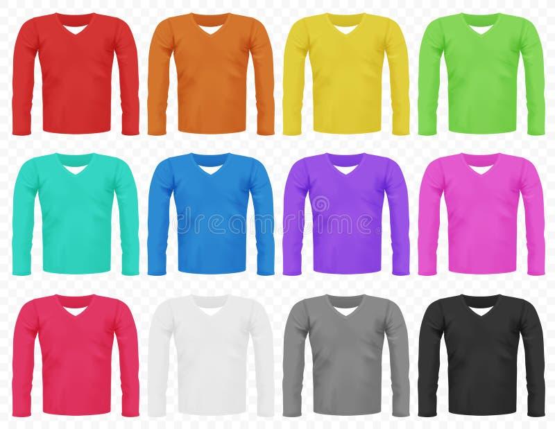 Reeks heldere realistische verschillende gekleurde mannelijke lange sleeved t-shirts stock illustratie