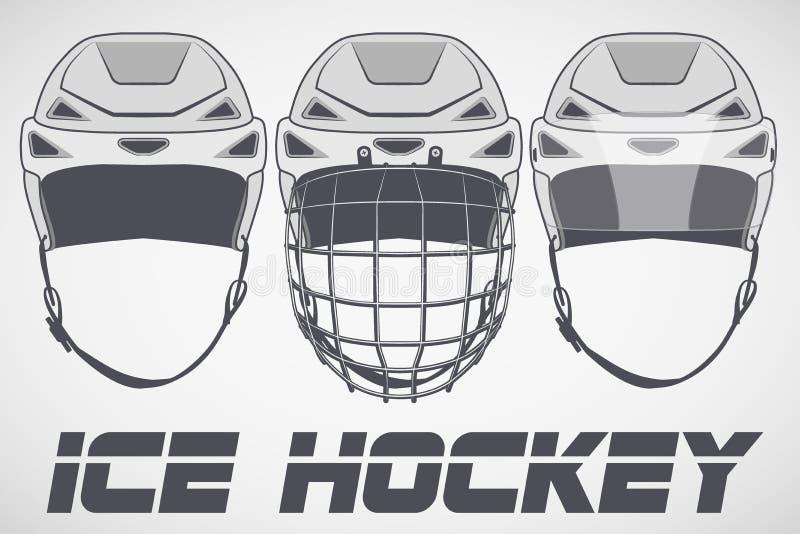 Reeks Helmen van het schetshockey royalty-vrije illustratie