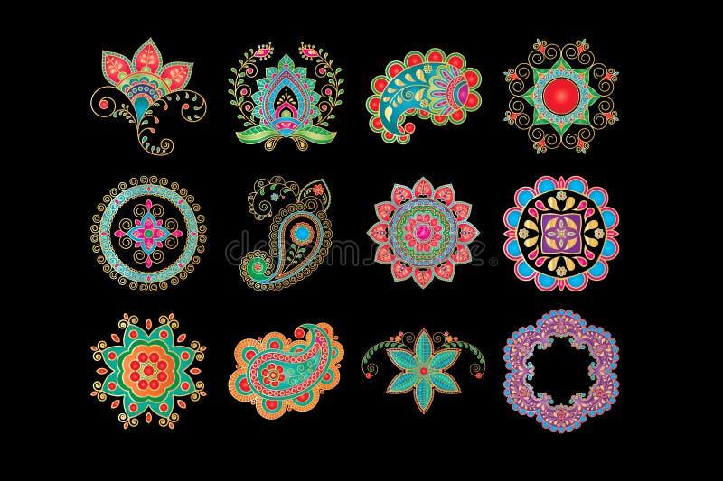 Reeks hennaelementen op traditionele Aziatische elementen Paisley en mandala worden gebaseerd die Moderne abstracte stijl, Indiër vector illustratie