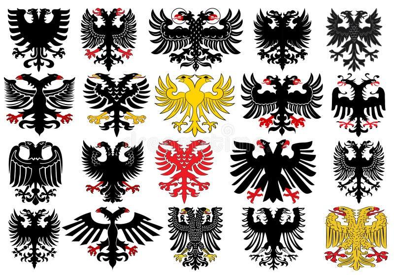 Reeks heraldische Duitse adelaars vector illustratie