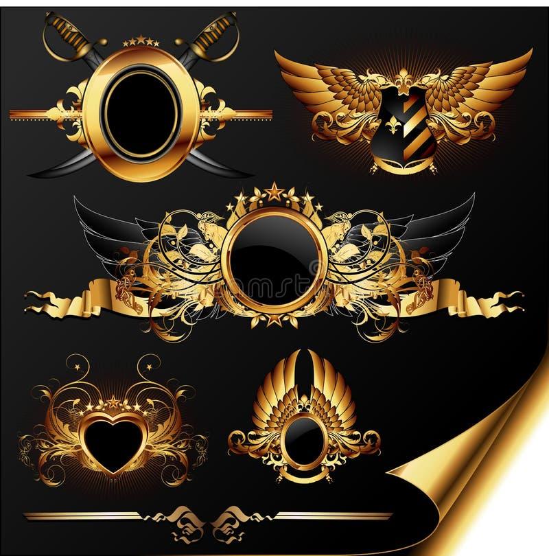 Reeks heraldische elementen stock illustratie