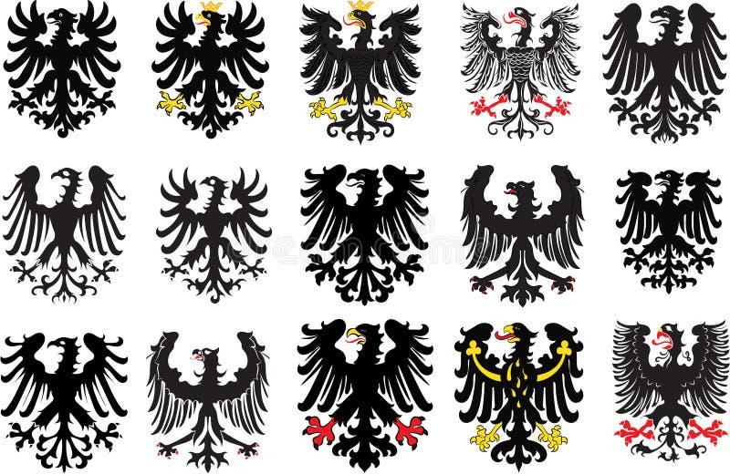 Reeks heraldische zwarte adelaars Vector illustratie vector illustratie