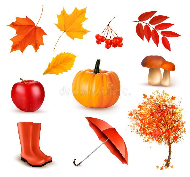 Reeks herfst-als thema gehade voorwerpen stock illustratie