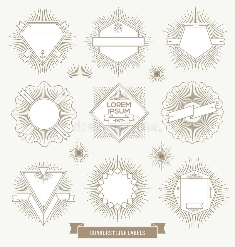 Reeks het embleem, het teken en etiketten van het lijnontwerp vector illustratie