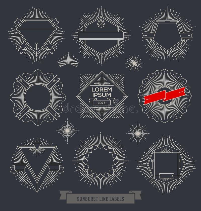 Reeks het embleem, het teken en hipster etiketten van het lijnontwerp vector illustratie
