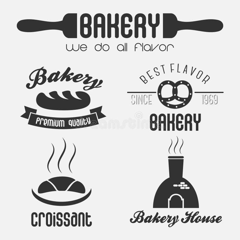 Reeks het embleemelementen van de bakkerijwinkel vector illustratie