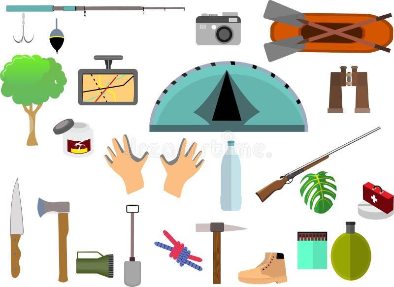 Reeks het kamperen pictogrammen, vector vlakke elementen vector illustratie