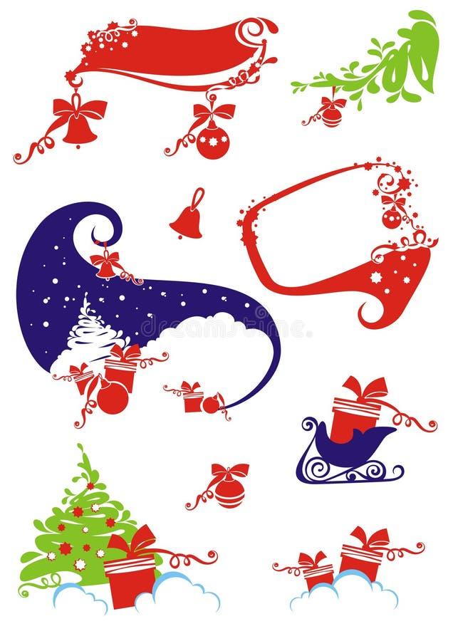Reeks het ontwerpelementen van Kerstmis & van het nieuw-Jaar. royalty-vrije illustratie